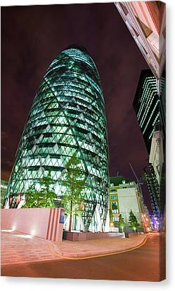 The Swiss Re Tower At Night Canvas Print