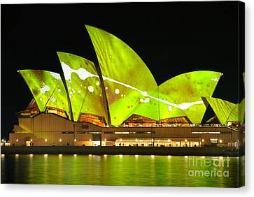 The Sydney Opera House In Vivid Green Canvas Print by David Hill