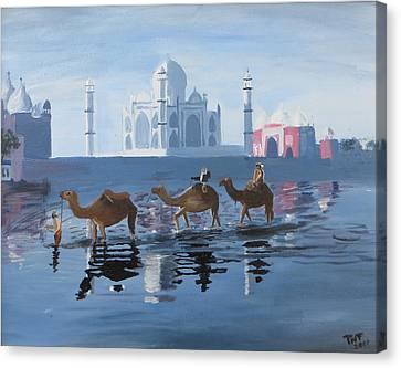 The Taj Mahal And The Yamuna River Canvas Print