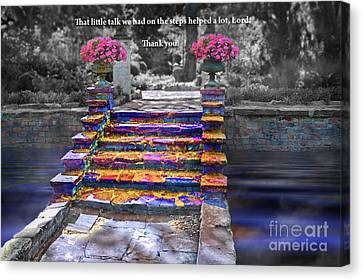Canvas Print featuring the digital art The Talk Version One by Margie Chapman