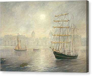 The Tall Ship Thalassa By The Old Royal Naval College Greenwich Canvas Print