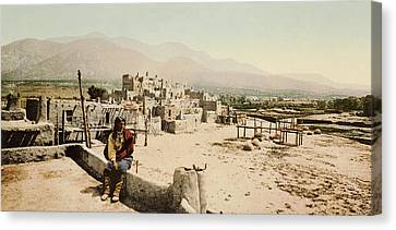 The Taos Pueblo Canvas Print by William Henry Jackson