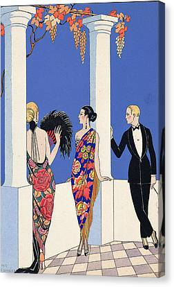 The Taste Of Shawls Canvas Print by Georges Barbier