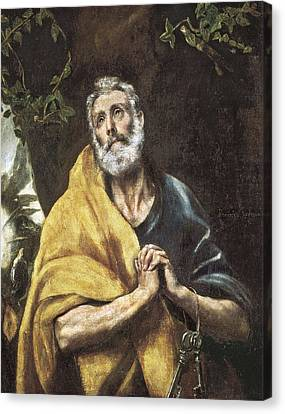 Old Man With Beard Canvas Print - The Tears Of Saint Peter. Ca. 1594 - by Everett