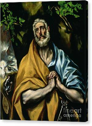 The Tears Of St Peter Canvas Print by El Greco Domenico Theotocopuli