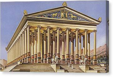 The Temple Of Artemis Colour Litho Canvas Print by English School