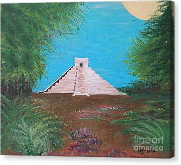Canvas Print featuring the painting The Temple Of Kukulcan by Alys Caviness-Gober