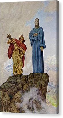 The Temptation Of Christ Canvas Print by Hans Thoma