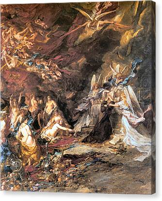 The Temptation Of St. Anthony Canvas Print by Louis Gabriel Eugene Isabey