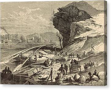 The Tennessee At Chattanooga 1872 Engraving Canvas Print by Antique Engravings