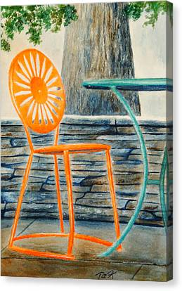 Canvas Print featuring the painting The Terrace Chair by Thomas Kuchenbecker