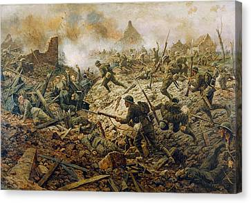 The Territorials At Pozieres On 23rd Canvas Print by William Barnes Wollen