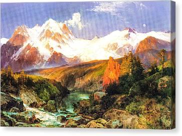 The Teton Range Canvas Print by Thomas Moran