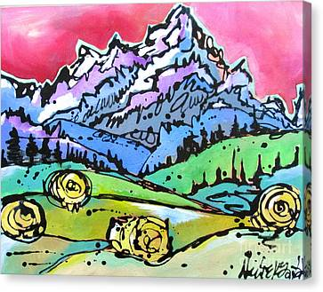 Canvas Print featuring the painting The Tetons From Walton Ranch by Nicole Gaitan