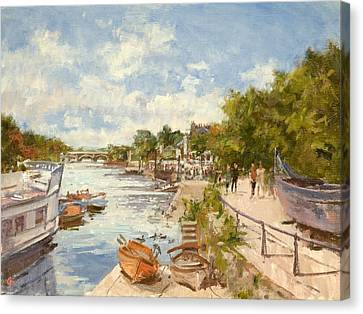 Towpath Canvas Print - The Thames At Richmond, 2012 Oil On Canvas by Christopher Glanville