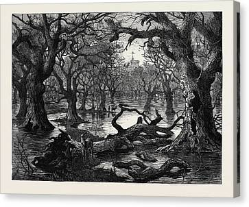 The Thames Floods Scene In The Home Park Windsor 1879 Canvas Print