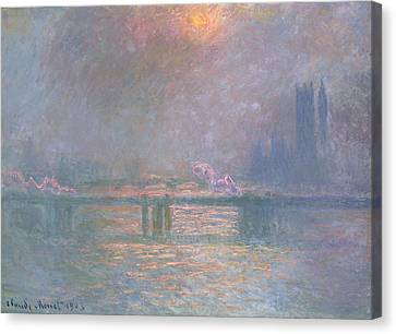 The Thames With Charing Cross Bridge Canvas Print by Claude Monet