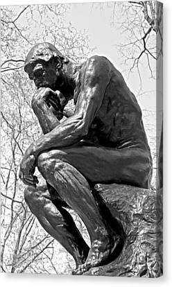 The Thinker In Black And White Canvas Print by Lisa Phillips