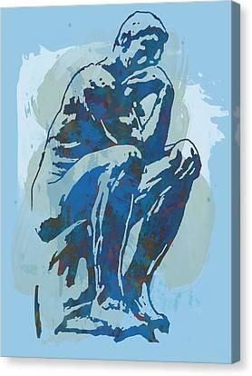 The Thinker - Rodin Stylized Pop Art Poster Canvas Print by Kim Wang