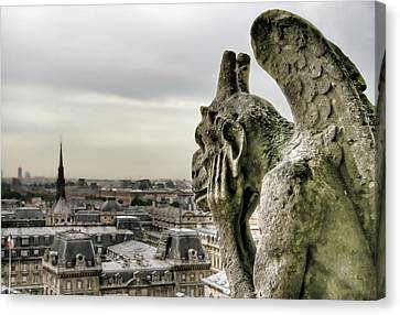 Canvas Print featuring the photograph The Thinking Gargoyle by Brent Durken