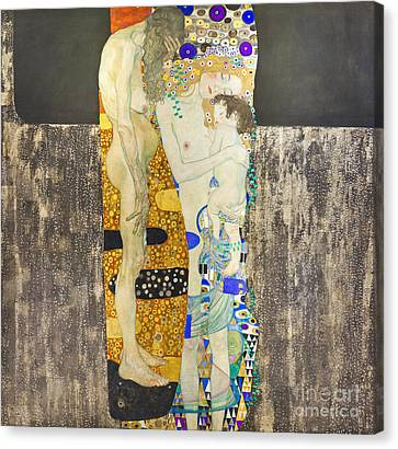 The Three Ages Of Woman By Gustav Klimt Canvas Print by Roberto Morgenthaler