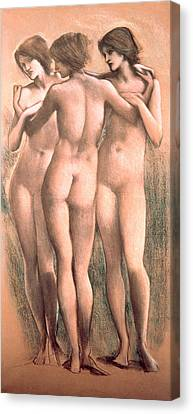 The Three Graces Canvas Print by Sir Edward Coley Burne-Jones