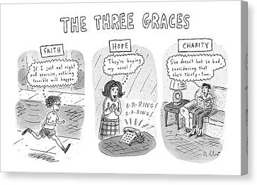 Sidewalk Canvas Print - 'the Three Graces' by Roz Chast