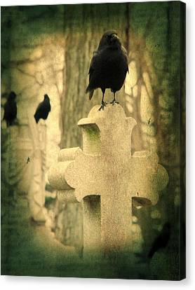 Birds In Graveyard Canvas Print - The Three Graveyard Crows by Gothicrow Images