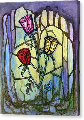Canvas Print featuring the painting The Three Roses by Terry Webb Harshman
