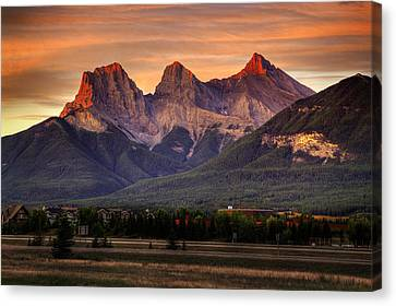 The Three Sisters Canmore Canvas Print
