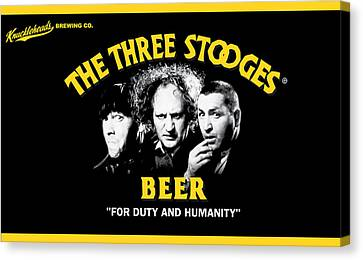 1960 Movies Canvas Print - The Three Stooges Beer by Official Three Stooges
