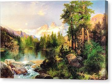 The Three Tetons Canvas Print by Thomas Moran