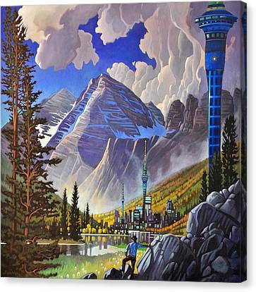 Canvas Print featuring the painting The Three Towers by Art James West