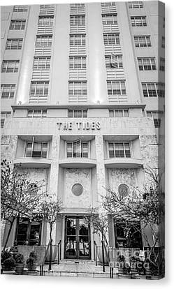 The Tides Art Deco Detail South Beach Miami - Black And White Canvas Print
