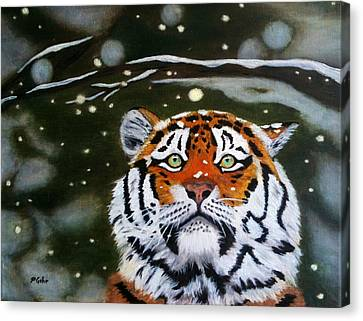 The Tiger In Winter Canvas Print