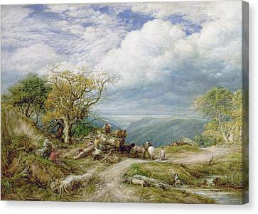 The Timber Wagon Canvas Print by John Linnell