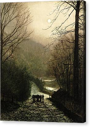 The Timber Wagon Canvas Print by John Atkinson Grimshaw