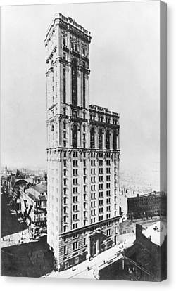 The Times Building, New York, C.1900 Bw Photo Canvas Print by American Photographer