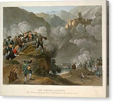 The Tirolese Patriots Storming Canvas Print by Franz Joseph Manskirch