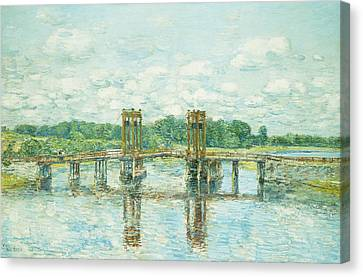 The Toll Bridge New Hampshire Canvas Print by Childe Hassam