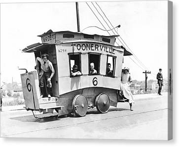 Medium Group Of People Canvas Print - The Toonerville Trolley by Underwood Archives
