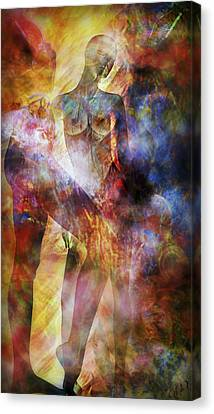 Canvas Print featuring the mixed media The Touch by Ally  White
