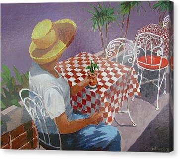 Canvas Print featuring the painting The Tourist by Tony Caviston