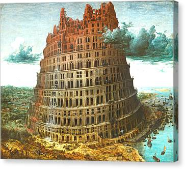 The Tower Of Babel Canvas Print by Miguel Rodriguez
