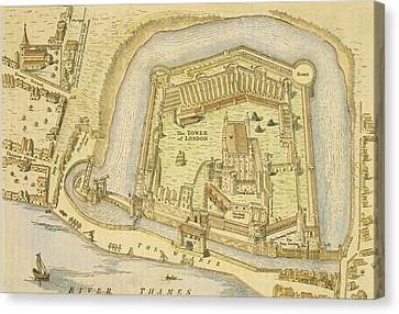 The Tower Of London, From A Survey Made Canvas Print by English School