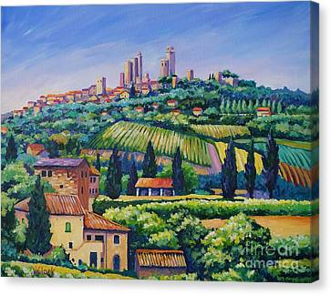 Wine Canvas Print - The Towers Of San Gimignano by John Clark
