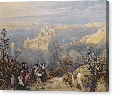Mountains Canvas Print - The Town And Castle At Loja, Spain, 1834 by David Roberts