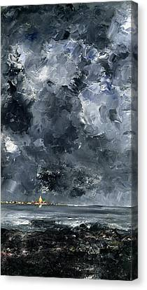 Storm Canvas Print - The Town by August Johan Strindberg