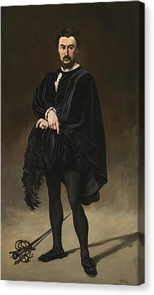 The Tragedian Actor Rouviere As Hamlet Canvas Print by Edouard Manet