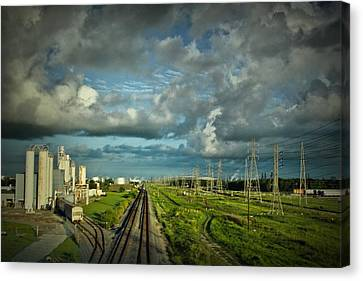 The Train Yard Canvas Print by Linda Unger